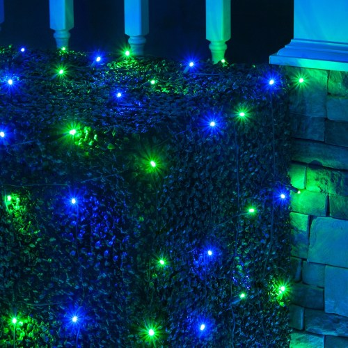 small resolution of blue and green christmas net lights