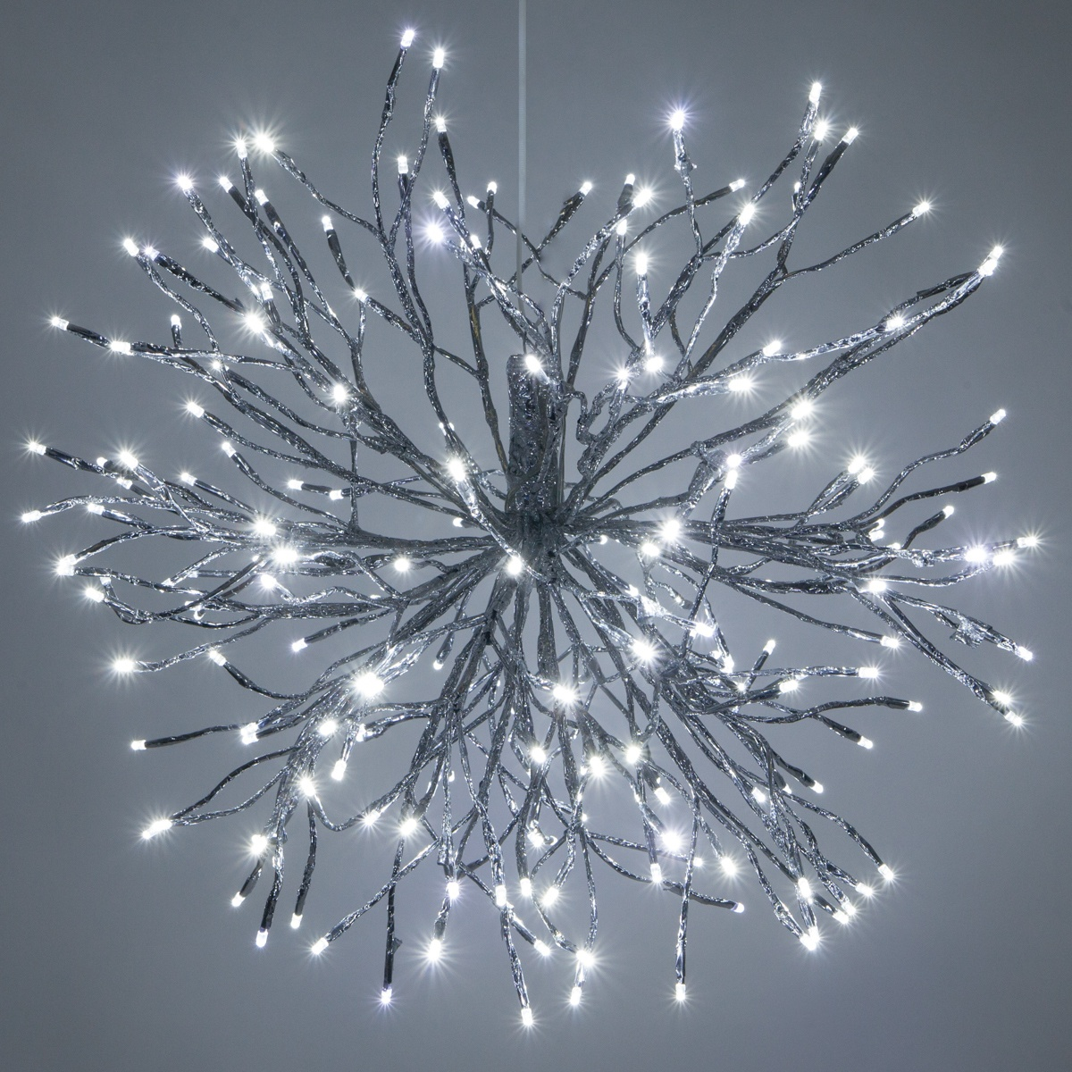 Silver Starburst Lighted Branches with Cool White LED Twinkle Lights 1 pc