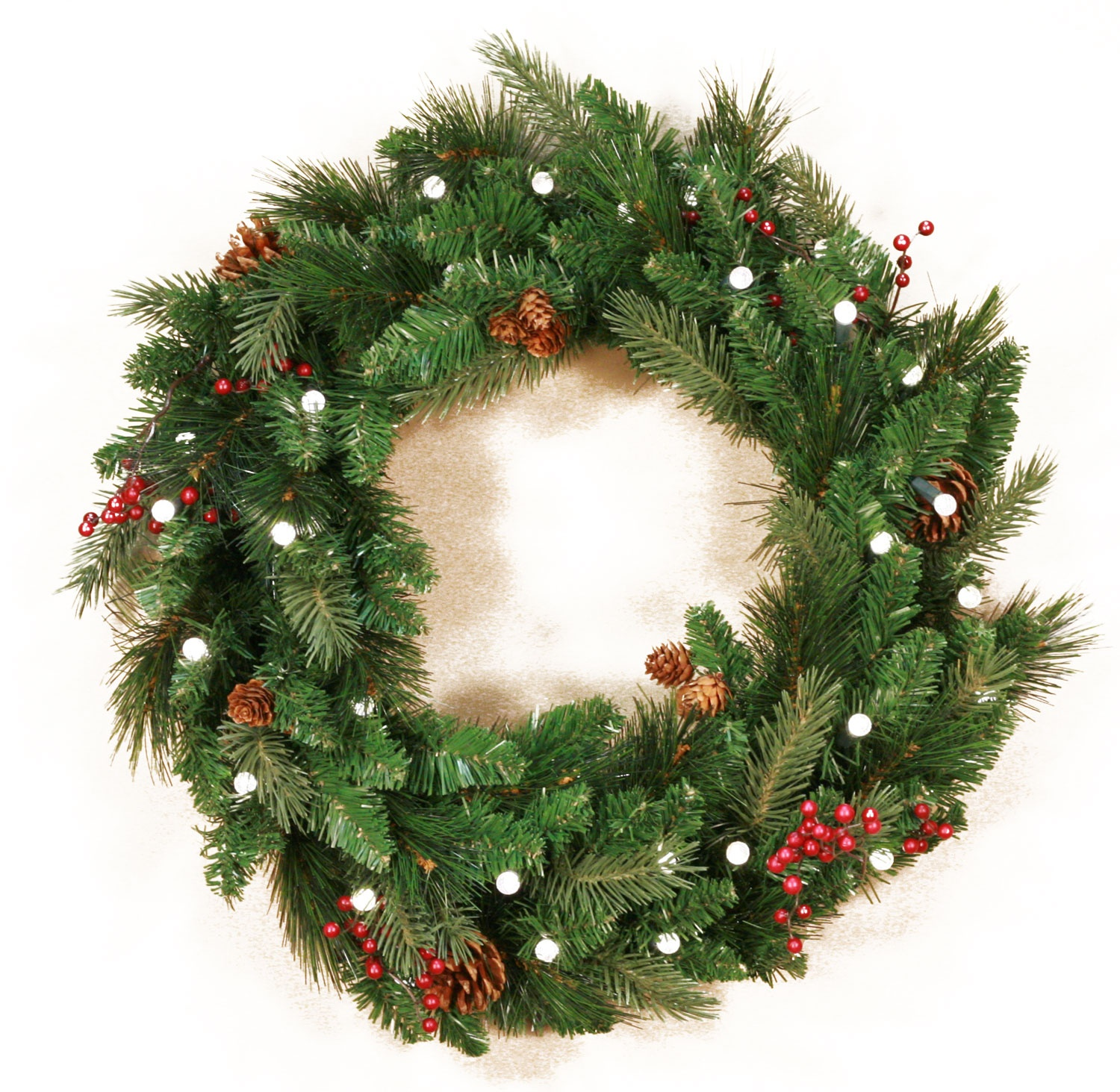 Decorative Wreaths  Mixed White Spruce Battery Operated