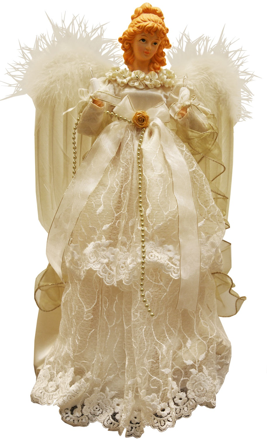 Christmas Decorations 16 5 Quot Ivory And Gold Angel Tree Topper