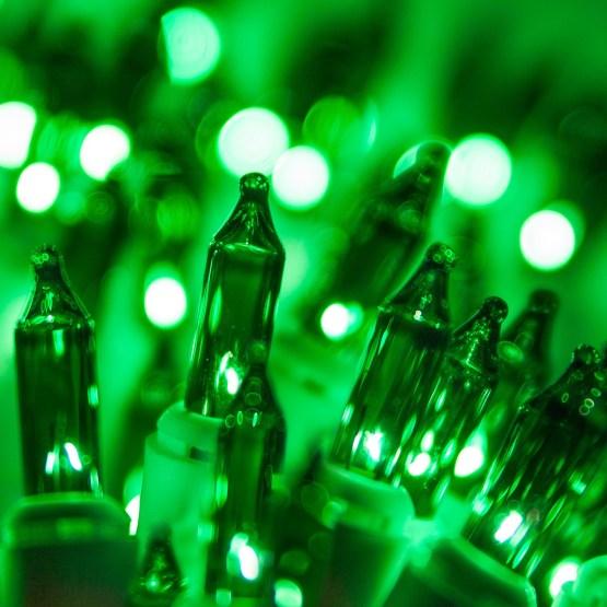 White Christmas Lights 100 Green Christmas Tree Mini