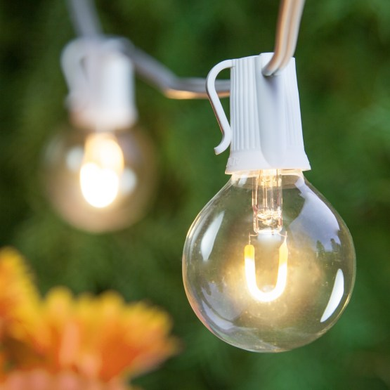 patio lights warm white led lights 25 g50 e12 bulbs white wire