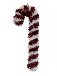 Metallic 3d Tinsel Candy Cane Hanging Decoration