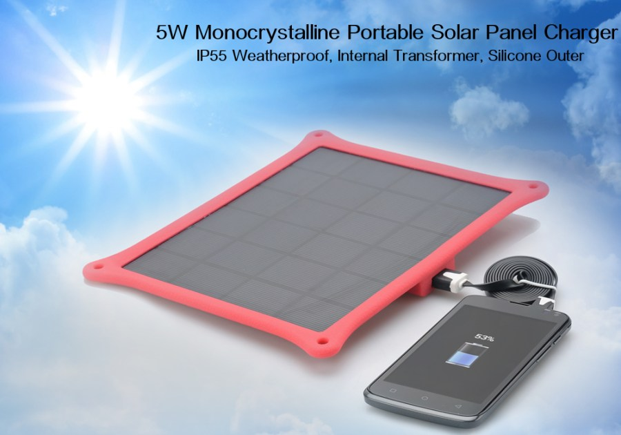 5W Monocrystalline Portable Solar Panel Charger