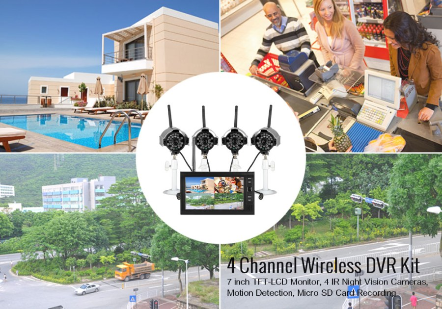 4 Channel Wireless DVR Kit - 7 inch TFT