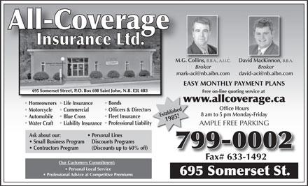 Allcoverage Insurance Ltd  695 Somerset St, Saint John, Nb