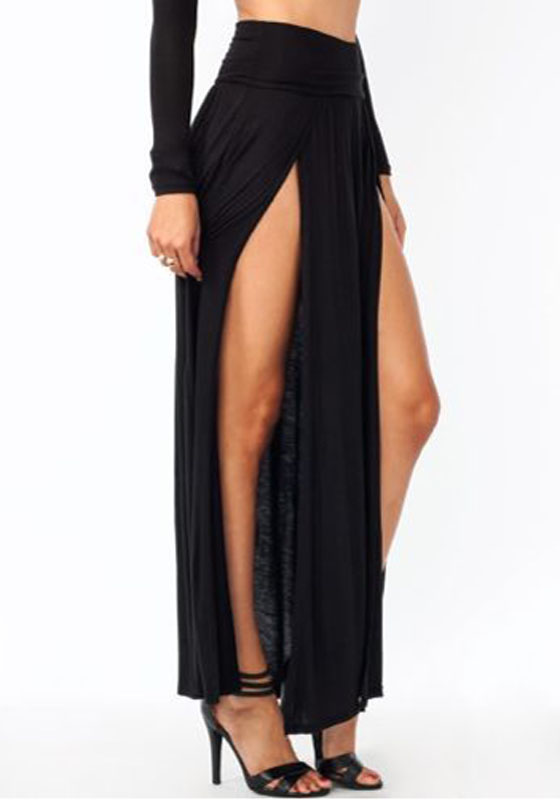 All Black Irregular Double Slit Floor Length Fashion Beach Maxi Skirt  Skirts  Bottoms