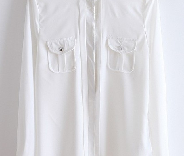 White Buttons Band Collar Long Sleeve Cotton Blouse