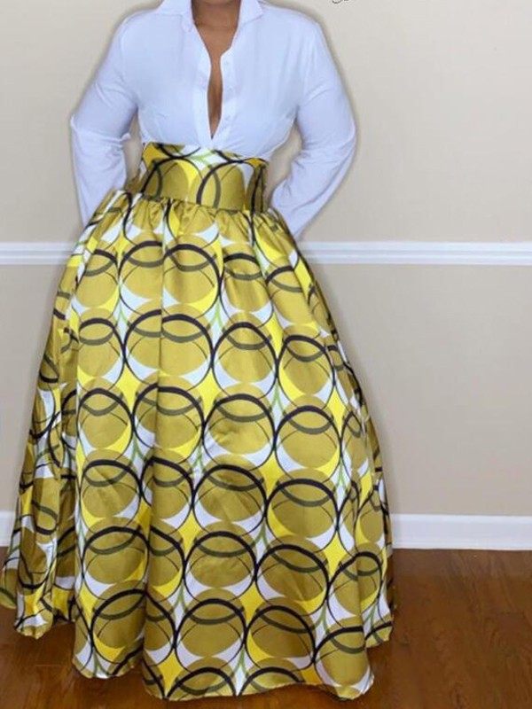 African Skirts Patterns : african, skirts, patterns, Yellow, Tribal, Floral, Pattern, Waisted, Vintage, Flare, African, Style, Skirt, Skirts, Bottoms