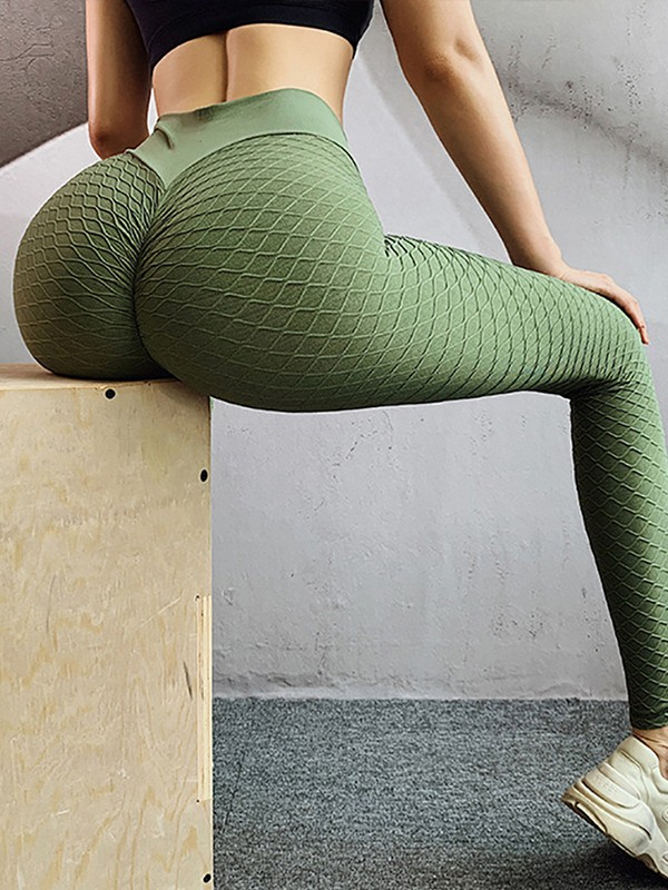 Yoga Big Ass : Green, Plaid, Print, Ruched, Waisted, Booty, Sports, Legging, Leggings, Bottoms