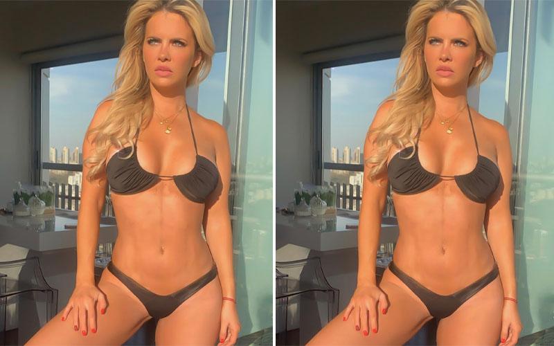 """Bajo el sol, Alejandra Maglietti posó con una micro bikini negra: """"Salió el sol"""""""