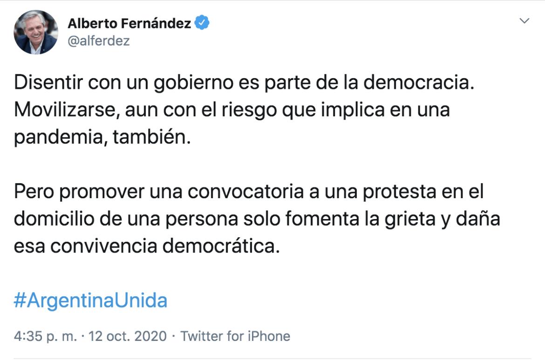 Mensaje Twitter Alberto F