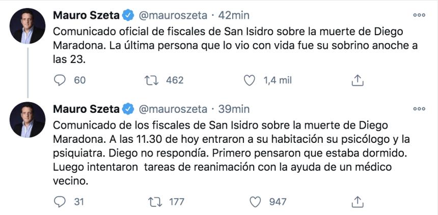 El tuit de Mauro Szeta sobre la comunicación de los fiscales.