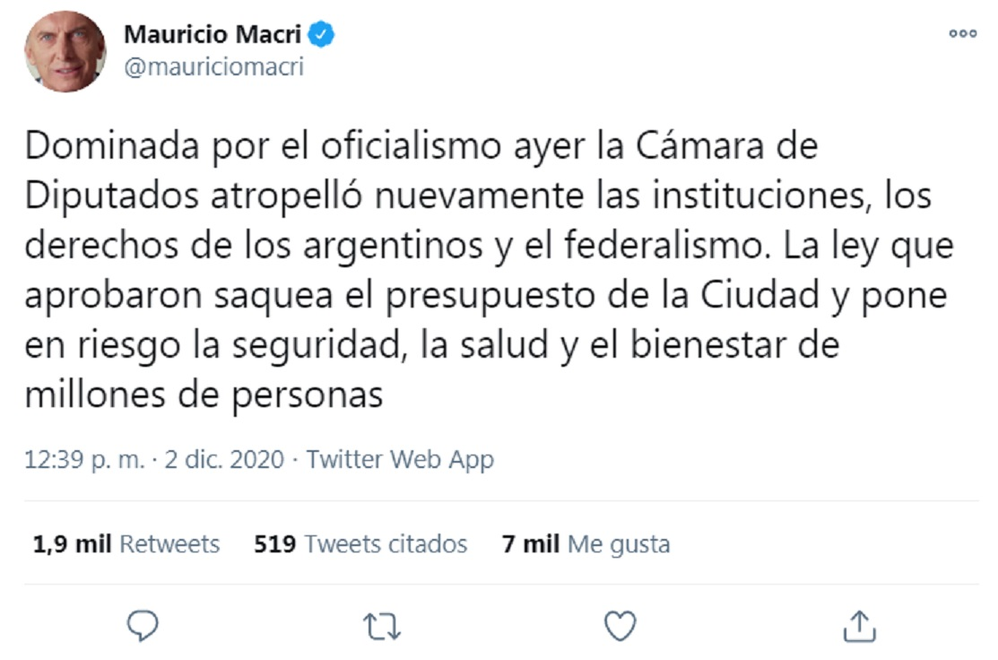 """Mauricio Macrí criticó la quita de fondos a la ciudad: """"Qué tristeza ver cómo votaron los cuatro diputados cordobeses del PJ"""". (Twitter: MauricioMacri)"""