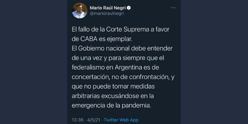El tuit de Mario Negri