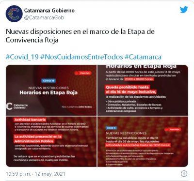 El Gobierno anunció nuevas restricciones en su cuenta de Twitter.