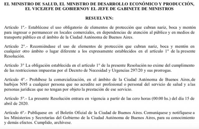 Coronavirus: desde el 15 de abril será obligatorio usar tapabocas en la Ciudad de Buenos Aires