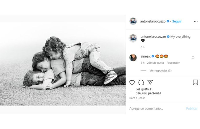 Antonela Roccuzzo and a tender story along to their children (and with music of Shakira)