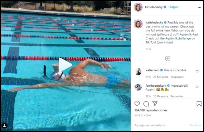 Viral: la pentacampeona olímpica de natación cruzó la pileta con una chocolatada en la cabeza