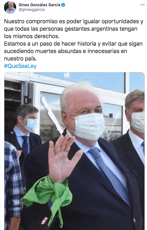 """""""Estamos a un paso de hacer historia"""", Ginés González García se expresó a favor del aborto"""