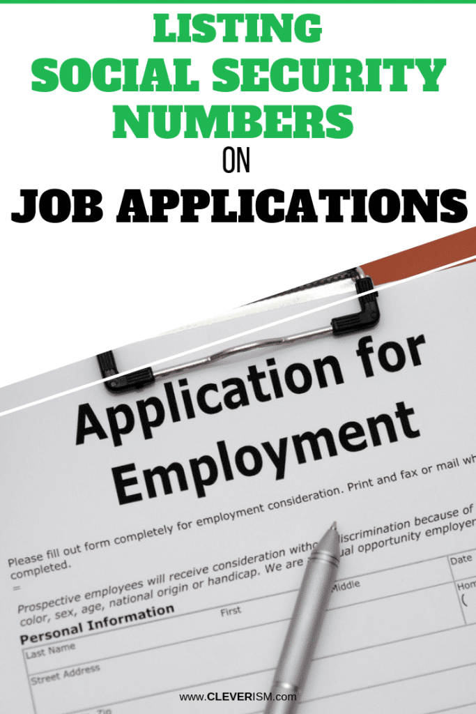 Listing Social Security Numbers On Job Applications