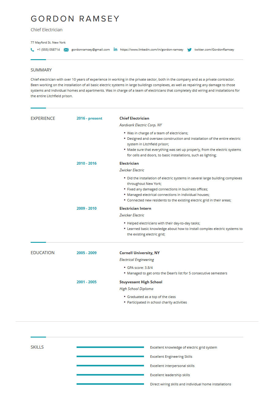 Electrician Resume: Templates, Examples & Complete Guide ...