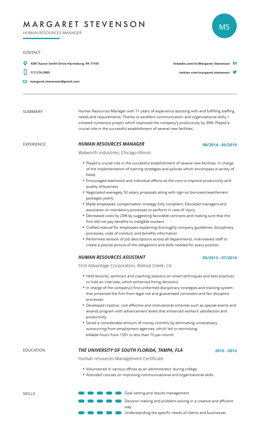 Human Resources Resume: Examples, Template & Complete Guide ...