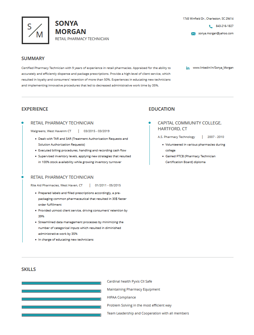 Pharmacy Technician Resume: Examples, Template & Complete ...