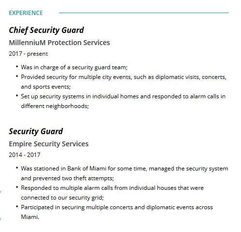 Security Guard Resume: Examples, Template & Complete Guide ...