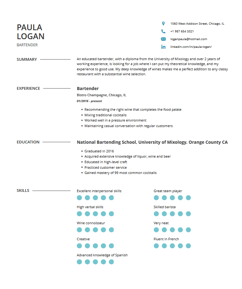 Bartender Resume: Examples, Template & Resume Tips | Cleverism
