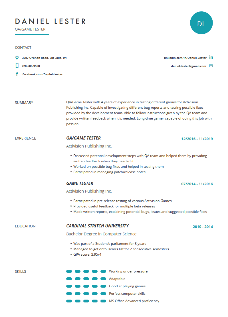 Game Tester Resume: Examples, Template, and Resume Tips ...