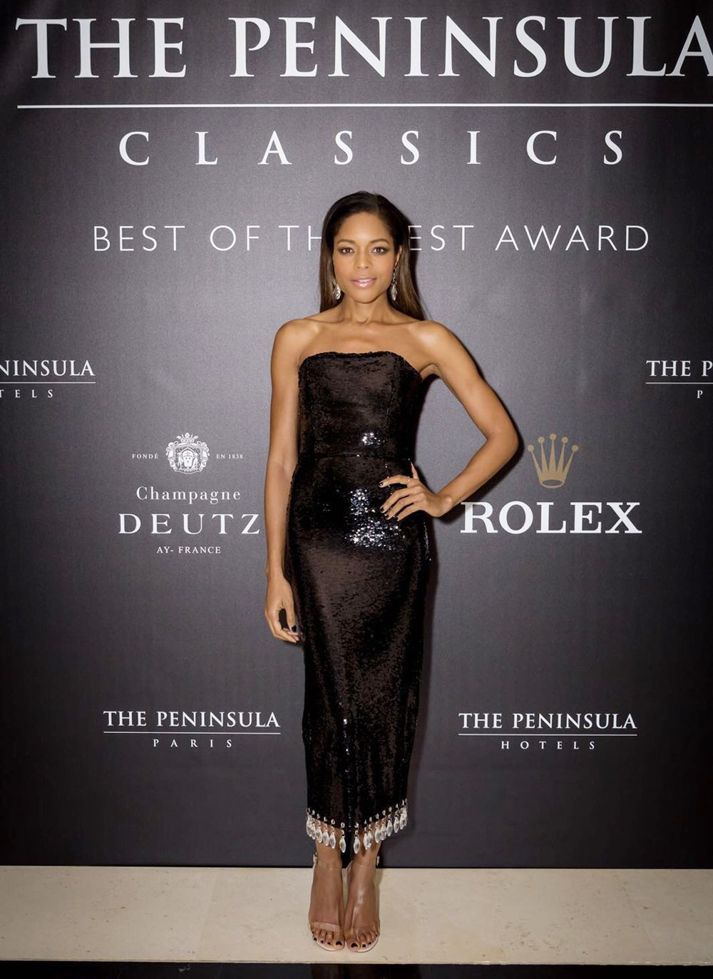fddf3342b987de WHO  Naomie HarrisWHAT  Harris walked the red carpet at the 3rd Annual The  Peninsula Classics Best of the Best Award in Paris. WEAR  Arlington dress   Public ...