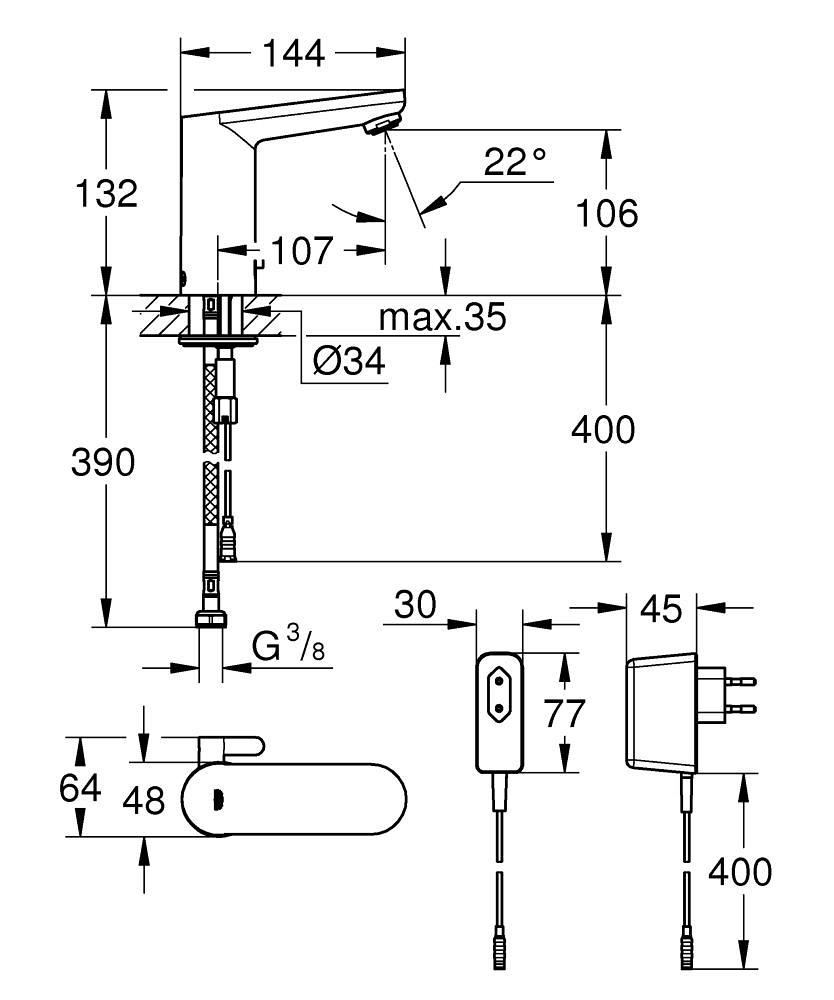 Eurosmart Cosmopolitan E Infra-red electronic basin mixer