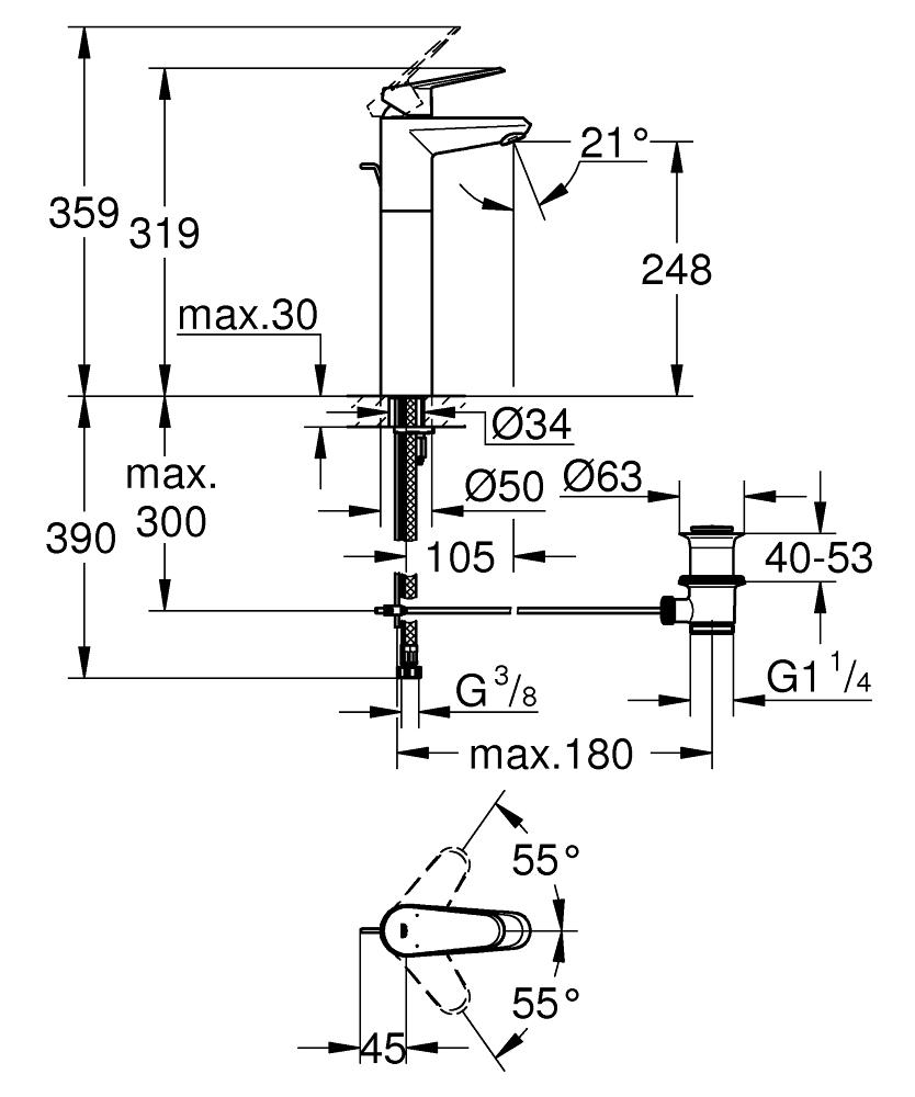 Eurodisc Cosmopolitan Single-lever basin mixer 1/2″ XL