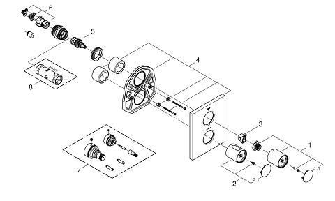 Grohtherm F Thermostat Fertigmontageset mit integrierter 2