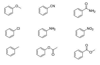 Circle the benzene rings with a deactivating group. S...
