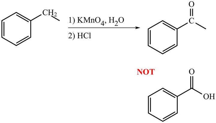 T/F: The oxidation of a secondary benzylic carbon can