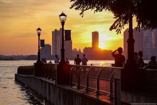 A photo of a sunset in Manhattan