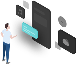 The picture designer creatively designs a user standing in front of the mobile phone, facing each module of the mobile phone, and making a choice