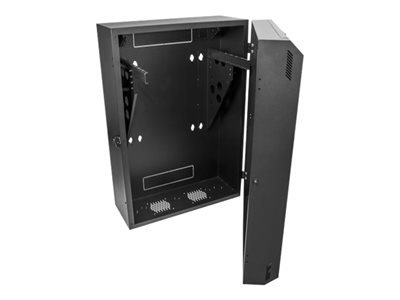 startech com 8u 19 22 vertical wall mount server rack cabinet low profile 15 22 30 22 deep locking network enclosure with 2u for switch patch