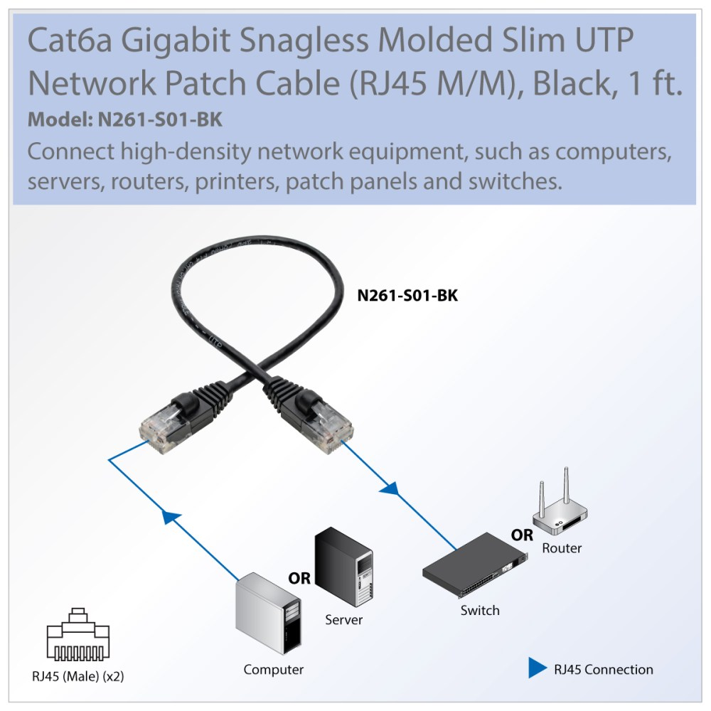 medium resolution of provantage tripp lite n261 s01 bk 1ft cat6a black gigabit patch cable snagless molded slim utp m m