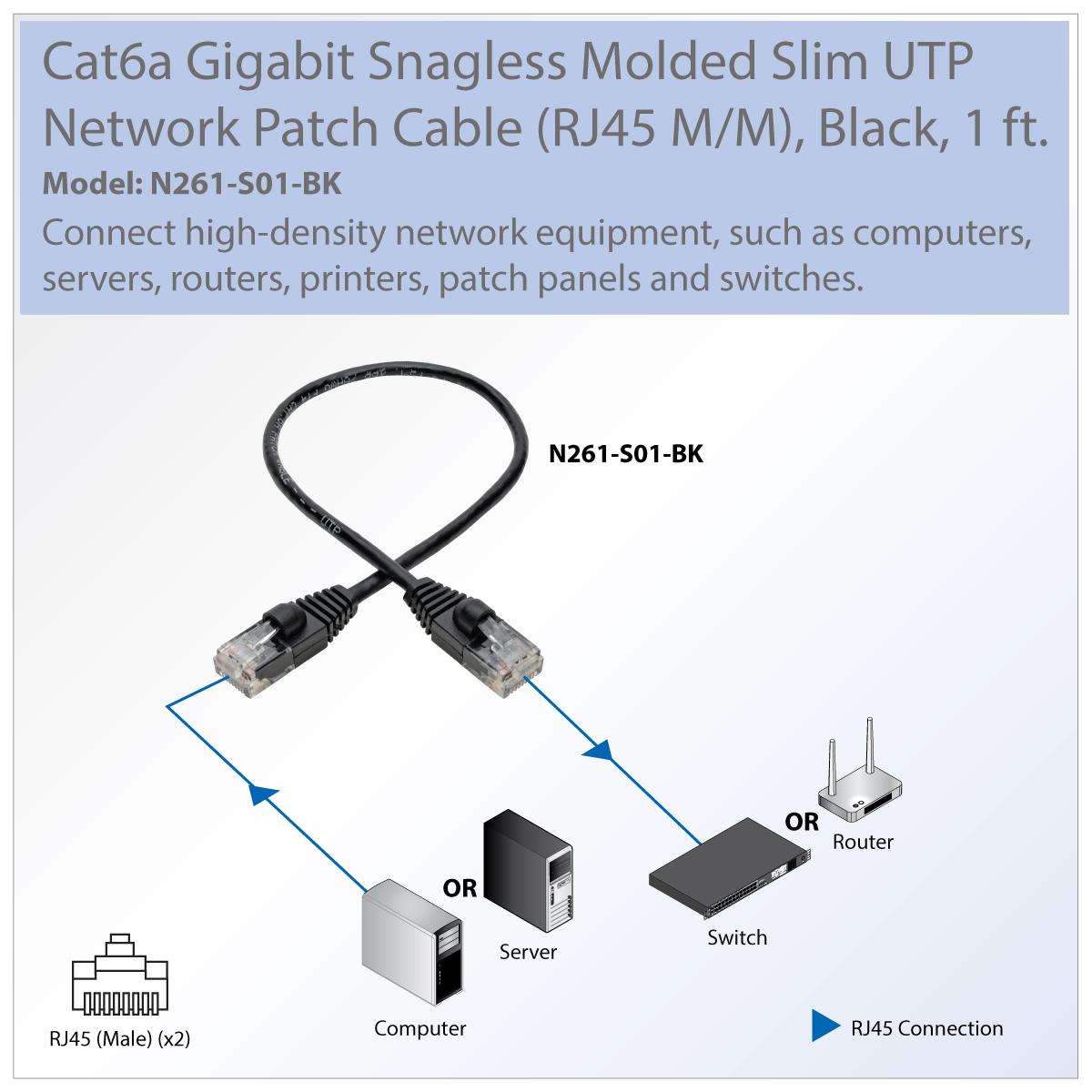 hight resolution of provantage tripp lite n261 s01 bk 1ft cat6a black gigabit patch cable snagless molded slim utp m m