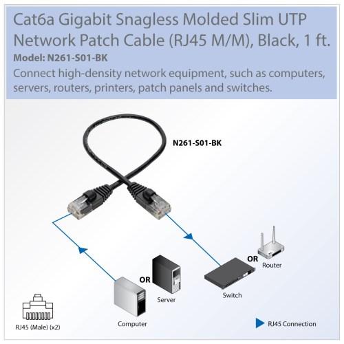 small resolution of provantage tripp lite n261 s01 bk 1ft cat6a black gigabit patch cable snagless molded slim utp m m