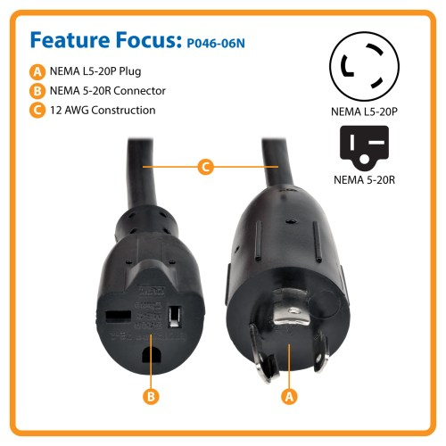 small resolution of heavy duty power cord adapter converts a 5 20p plug for use with an