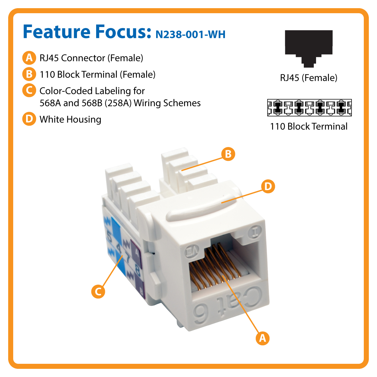 hight resolution of cat6 cat5e 110 style punch down keystone jack white