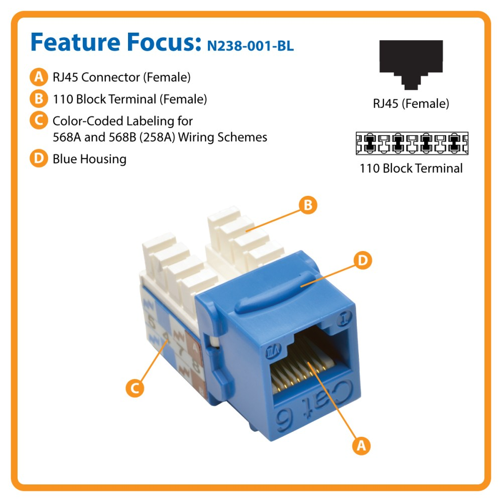medium resolution of cat6 cat5e 110 style punch down keystone jack blue