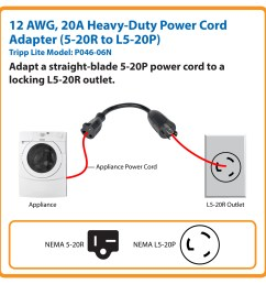 tripp lite 6in power cord adapter cable l5 20p to 5 20r heavy duty 20a 12awg 6 p046 06n c bles d alimentation inso ca [ 1200 x 1200 Pixel ]