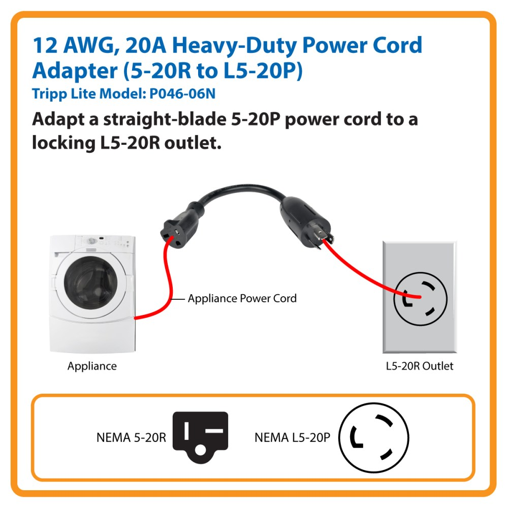 medium resolution of tripp lite 6in power cord adapter cable l5 20p to 5 20r heavy duty 20a 12awg 6 p046 06n c bles d alimentation inso ca