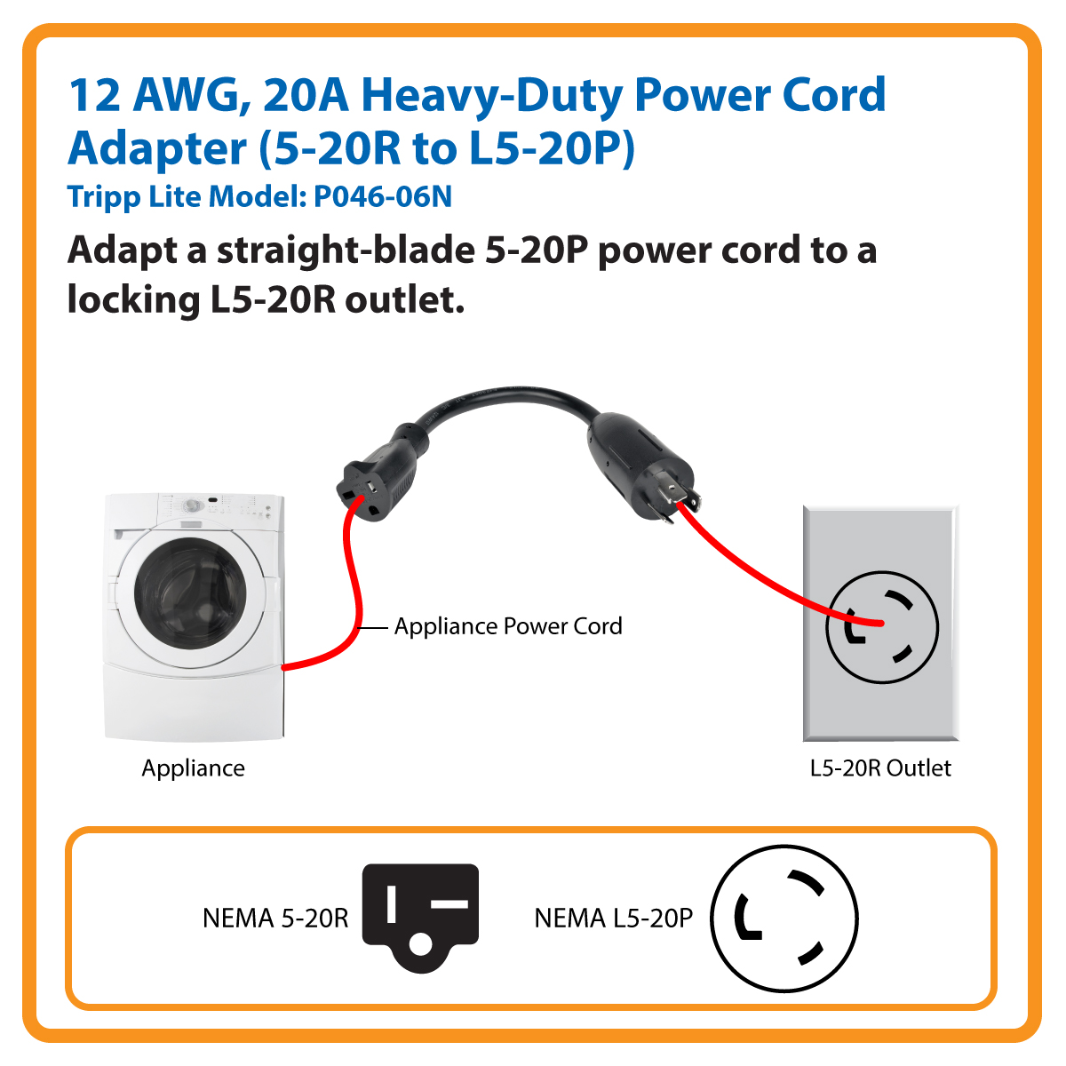 hight resolution of tripp lite 6in power cord adapter cable l5 20p to 5 20r heavy duty 20a 12awg 6 p046 06n c bles d alimentation inso ca