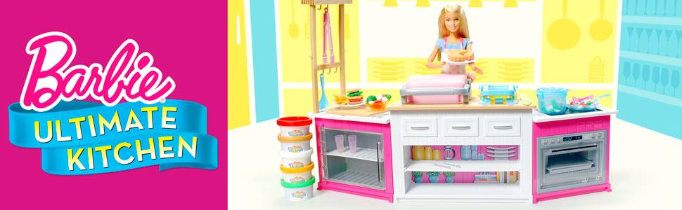 barbie kitchen playset country valances for buy ultimate with doll dolls furniture argos